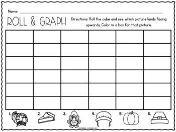 Kindergarten Math Centers-Roll and Graph Bundle