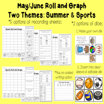 Roll and Graph May & June: Summer and Sports Themes