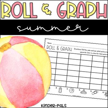 Roll and Graph Summer Themed Math Center for Kindergarten