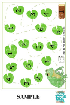 Roll and HOP Numbers game, 1-6 dice game,  Frog hop to log & trace mat
