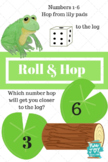 Roll and HOP Numbers game, 1-6 dice game,  Frog hop to log