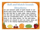 Roll and Match Beginning/Ending Sounds Game Food Unit