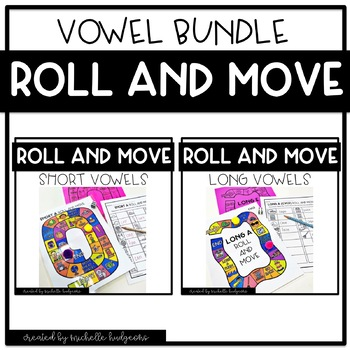 Roll and Move Short & Long Vowel BUNDLE Phonics Game, activity, center