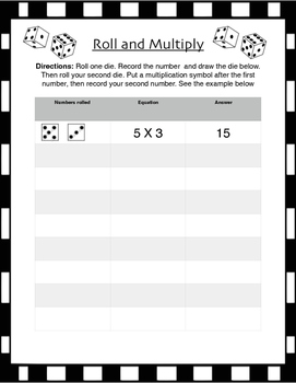 Roll and Multiply Game