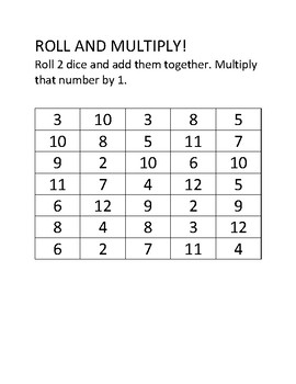Roll and Multiply Math Game