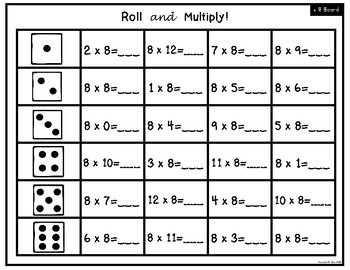 Roll and Multiply Multiplication Games
