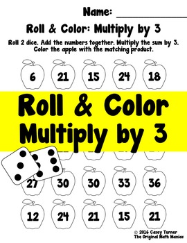Roll and Color: Multiply by 3 FREEBIE