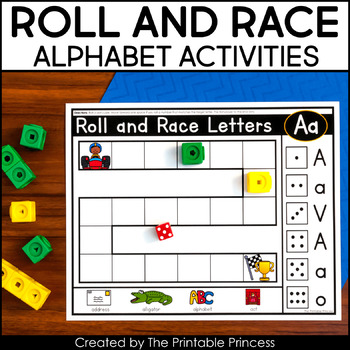 image about Letter Recognition Games Printable called Roll and Race: A Letter Acceptance Activity