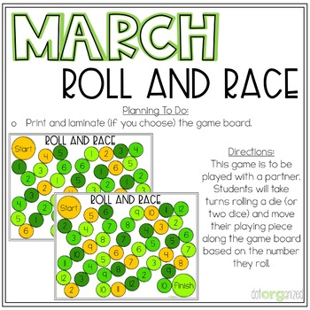 Roll and Race Differentiated Dice Kindergarten March Math Center