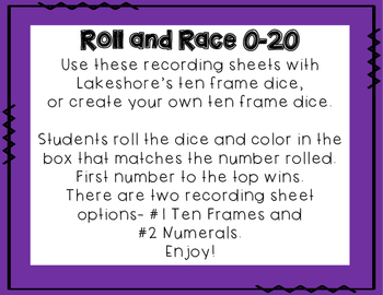 Roll and Race with Ten Frame Dice
