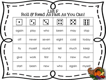 Roll and Read 220 Dolch Sight Words Thanksgiving Theme