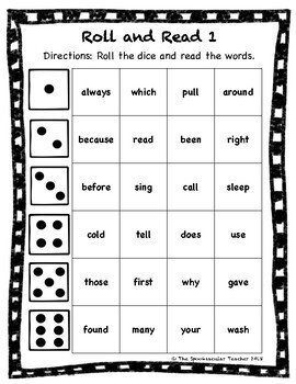 Roll and Read: Second Grade Sight Words