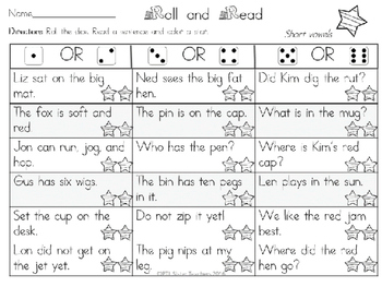Roll and Read  ALL Short Vowel Sounds Mixed Review for FLUENCY Interventions