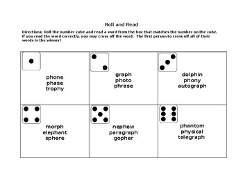 Roll and Read Activity (F sound- Spelled ph)