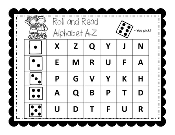 Roll and Read Alphabet A-Z