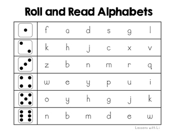 Roll and Read Alphabet FREEBIE