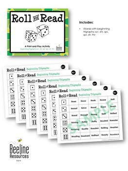 Roll and Read - Beginning Trigraphs *6 Print-and-Play Sets*