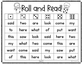Roll and Read - Benchmark Advance 1st Grade High Frequency Words