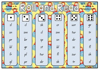 Roll and Read Blends - Set of 4 Game Cards