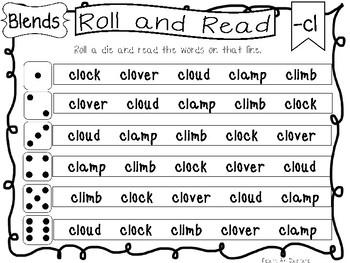 Roll and Read Blends Worksheets. 20 pages. Kindergarten-1st Grade ELA.
