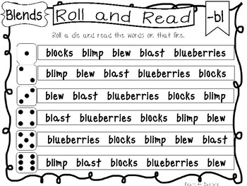 Roll and Read Blends Worksheets. 20 pages. Kindergarten-1st Grade ELA.