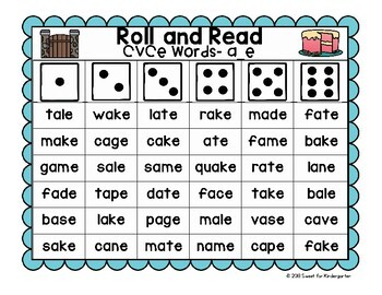 Roll and Read CVCe Fluency