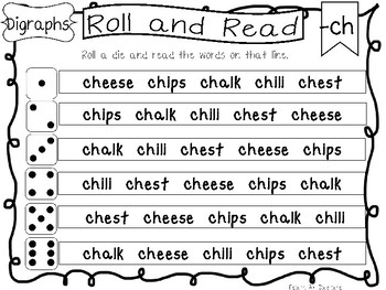 Roll and Read Digraph Worksheets. 10 pages. Kindergarten-1st Grade ELA.