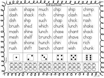 Roll and Read Digraphs! EXPANDING  BUNDLE for FLUENCY INTERVENTION