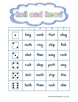 Roll and Read Digraphs- FREEBIE