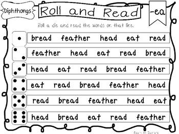 Roll and Read Diphthongs Worksheets. 10 pages. Kindergarten-1st Grade ELA.