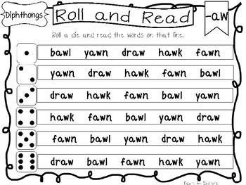 Roll and Read Diphthongs Worksheets. 10 pages. Kindergarten-1st Grade ELA.