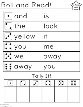 Roll and Read: Dolch Word Edition (Pre-Primer - 3rd Grade + Nouns)