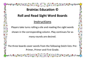 Roll and Read - Dolch Words