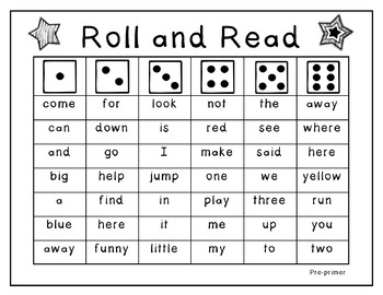 Roll and Read Dolch Sight Word Game