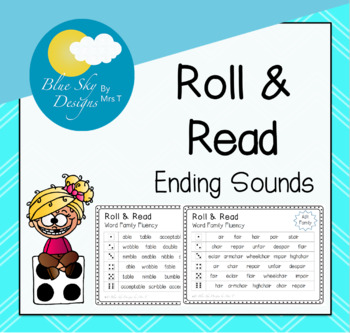 Roll and Read Ending Sounds Families