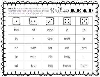 Roll and Read FRY Sight Word Game (words 1-100)