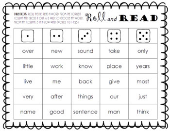Roll and Read FRY Sight Word Game BUNDLE (words 1-1000)
