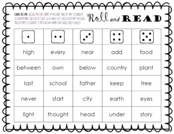 Roll and Read FRY Sight Word Game (words 201-300)