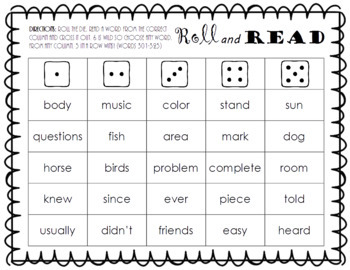 Roll and Read FRY Sight Word Game (words 301-400)