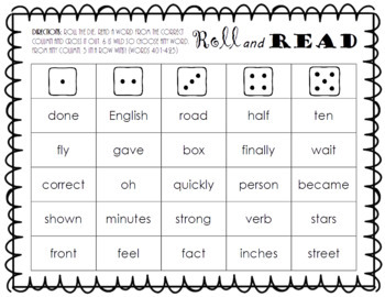 Roll and Read FRY Sight Word Game (words 401-500)