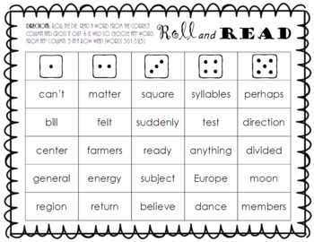 Roll and Read FRY Sight Word Game (words 501-600)
