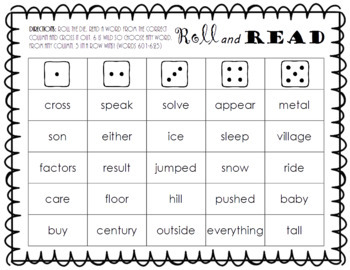 Roll and Read FRY Sight Word Game (words 601-700)