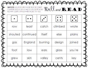 Roll and Read FRY Sight Word Game (words 701-800)
