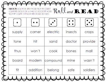 Roll and Read FRY Sight Word Game (words 801-900)