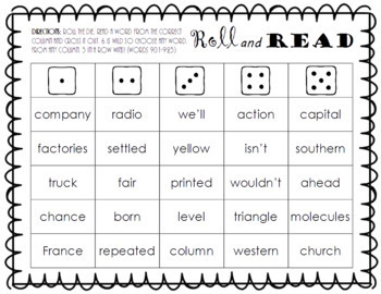 Roll and Read FRY Sight Word Game (words 901-1000)