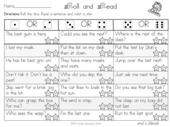Roll and Read  Final  S Blends