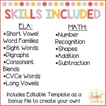 Kindergarten Roll and Read Fluency BUNDLE