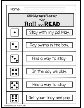 Roll and Read- Fluency Edition- Digraphs