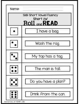 Roll and Read- Fluency Edition- Short Vowels