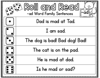 Roll and Read--Fluency Games for Beginning Readers